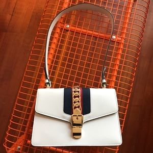 GUCCI - 2017 Small White Sylvie Shoulder Flap Bag